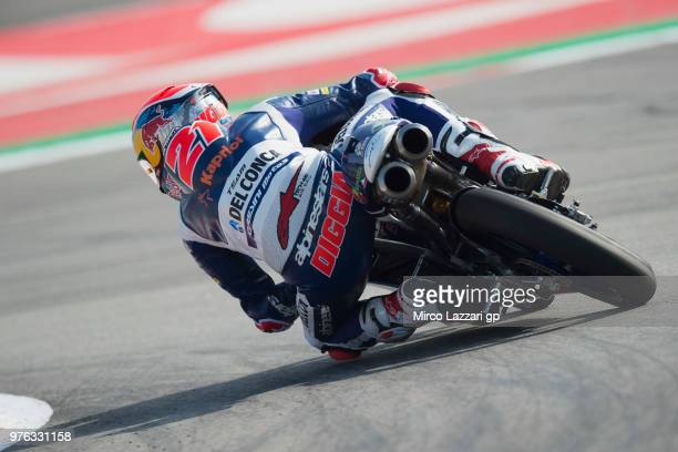 Fabio Di Giannantonio of Italy and Del Conca Gresini Moto3 rounds the bend during the qualifying practice during the MotoGp of Catalunya Qualifying...