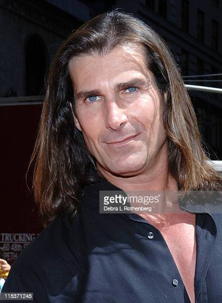 Fabio during Fabio Rides a Horse Into Times Square to Promote the Oxygen Network's Mr Romance at Times Square in New York City New York United States