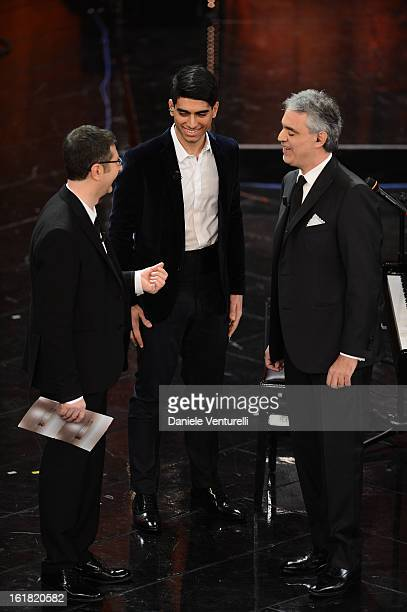 Fabio Fazio Amos Bocelli and Andrea Bocelli attend the closing night of the 63rd Sanremo Song Festival at the Ariston Theatre on February 16 2013 in...