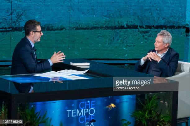 Fabio Fazio and Alessandro Baricco attends 'Che Tempo Che Fa' tv show at Rai Milan Studios on October 21 2018 in Milan Italy