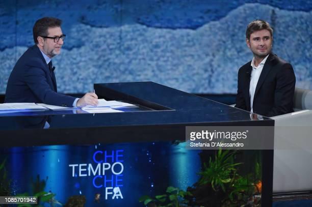 Fabio Fazio and Alessandro Di Battista attend 'Che Tempo Che Fa' tv show at Rai Milan Studios on January 20 2019 in Milan Italy