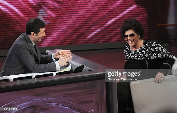 Fabio Fazio and Claudia Mori attend 'Che Tempo Che Fa' Italian Tv Show on January 30 2010 in Milan Italy