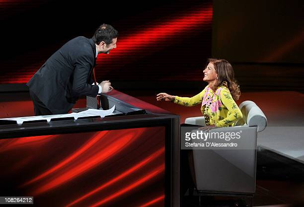Fabio Fazio and Emma Marcegaglia attend 'Che Tempo Che Fa' Italian Tv Show held at Rai Studios on January 23 2011 in Milan Italy