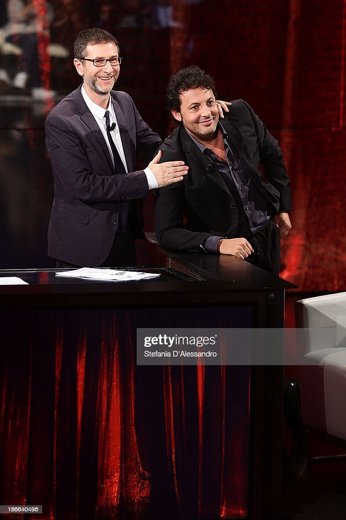 Fabio Fazio and Enrico Brignano attend 'Che Fa' TV Show on November 2, 2013 in Milan, Italy.