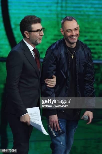 Fabio Fazio and Fabri Fibra attend Che Tempo Che Fa Tv Show on December 17 2017 in Milan Italy