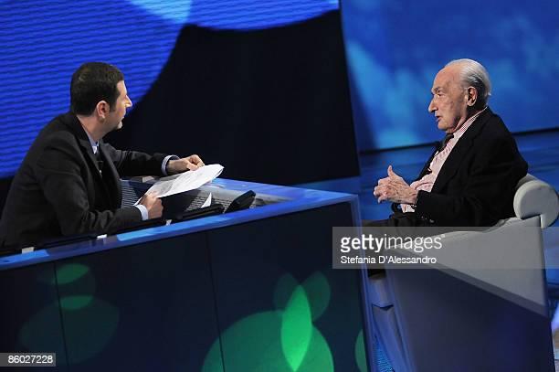 Fabio Fazio and Giovanni Sartori attend 'Che Tempo che Fa' Tv Show on April 18 2009 in Milan Italy