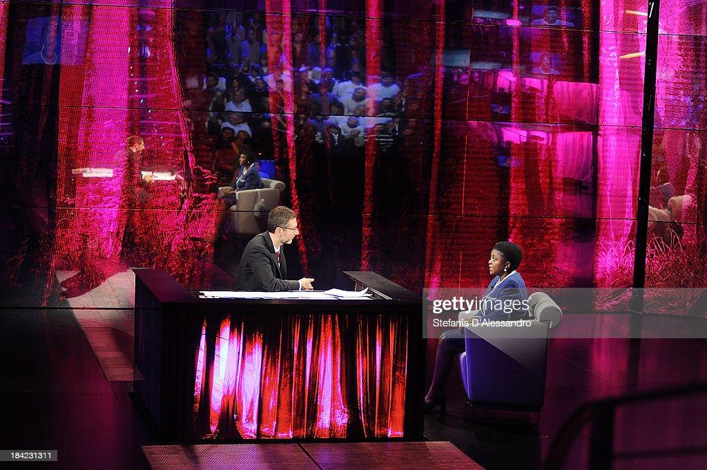 Fabio Fazio and Italy's Integration Minister Cecile Kyenge attend 'Che Tempo Che Fa' TV Show on October 12, 2013 in Milan, Italy.