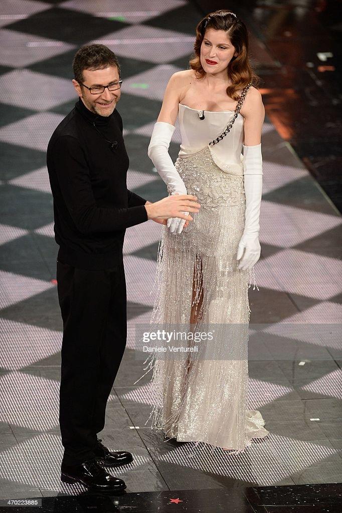 Fabio Fazio and Laetitia Casta attend opening night of the 64th Festival di Sanremo 2014 at Teatro Ariston on February 18, 2014 in Sanremo, Italy.