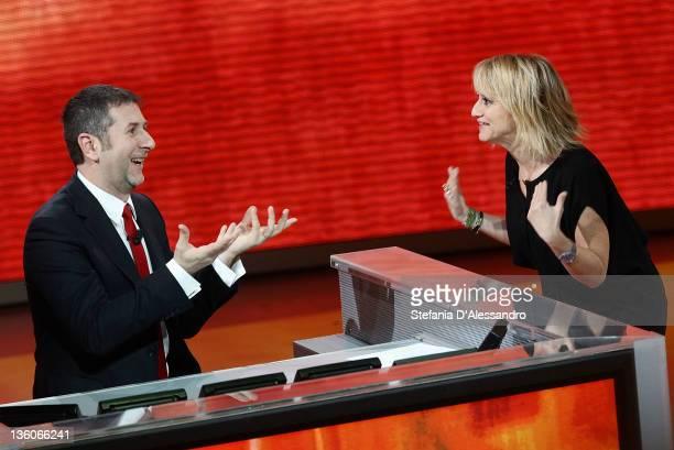 Fabio Fazio and Luciana Littizzetto attend 'Che Tempo Che Fa' Italian TV Show on December 18 2011 in Milan Italy