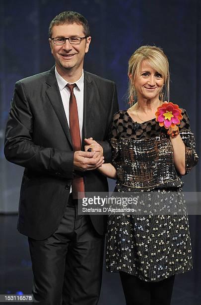 Fabio Fazio and Luciana Littizzetto attend 'Che Tempo Che Fa' Italian TV Show held at Rai Studios on September 30 2012 in Milan Italy