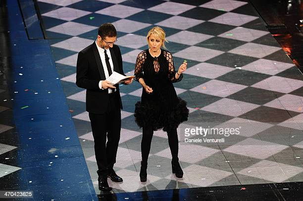 Fabio Fazio and Luciana Littizzetto attend the second night of the 64th Festival di Sanremo 2014 at Teatro Ariston on February 19, 2014 in Sanremo,...