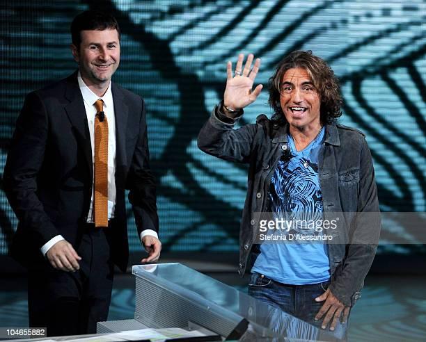 Fabio Fazio and Luciano Ligabue attend 'Che Tempo Che Fa' Italian Tv Show held at Rai Studios on October 2 2010 in Milan Italy