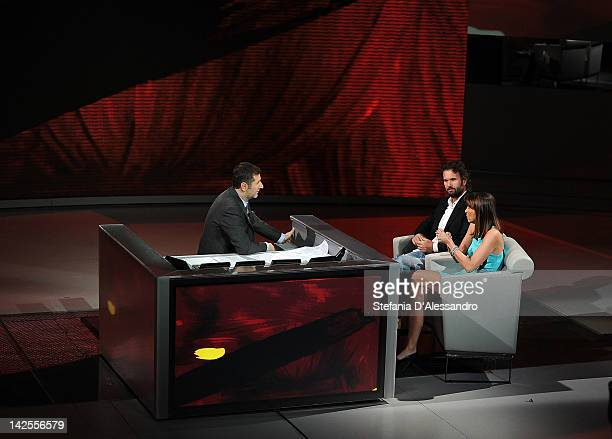 "Fabio Fazio, Carlo Cracco and Benedetta Parodi attend ""Che Tempo Che Fa"" Italian TV Show on April 7, 2012 in Milan, Italy."