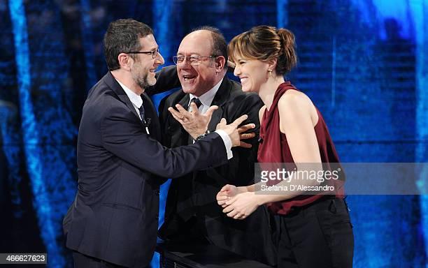 Fabio Fazio Carlo Verdone and Paola Cortellesi attend 'Che Tempo Che Fa' Italian TV Show on February 2 2014 in Milan Italy