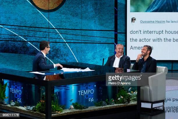 Fabio Fazio Claudio Amendola and Luca Argentero attends Che Tempo Che Fa tv show on May 13 2018 in Milan Italy
