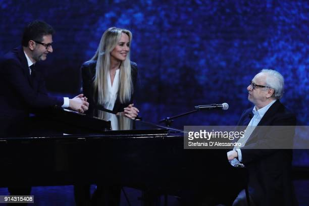 Fabio Fazio Johnny Dorelli and Gloria Guida attend 'Che Tempo Che Fa' tv show on February 4 2018 in Milan Italy