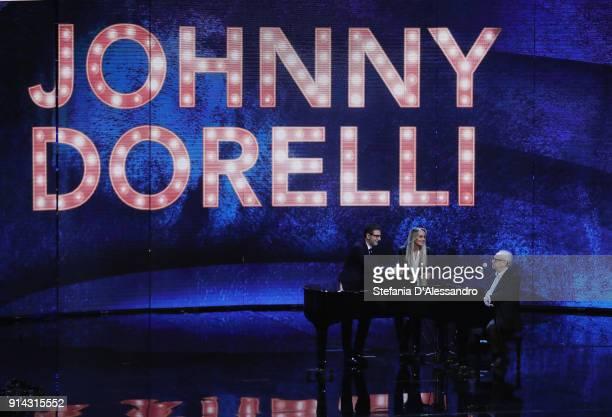 Fabio Fazio, Johnny Dorelli and Gloria Guida attend 'Che Tempo Che Fa' tv show on February 4, 2018 in Milan, Italy.