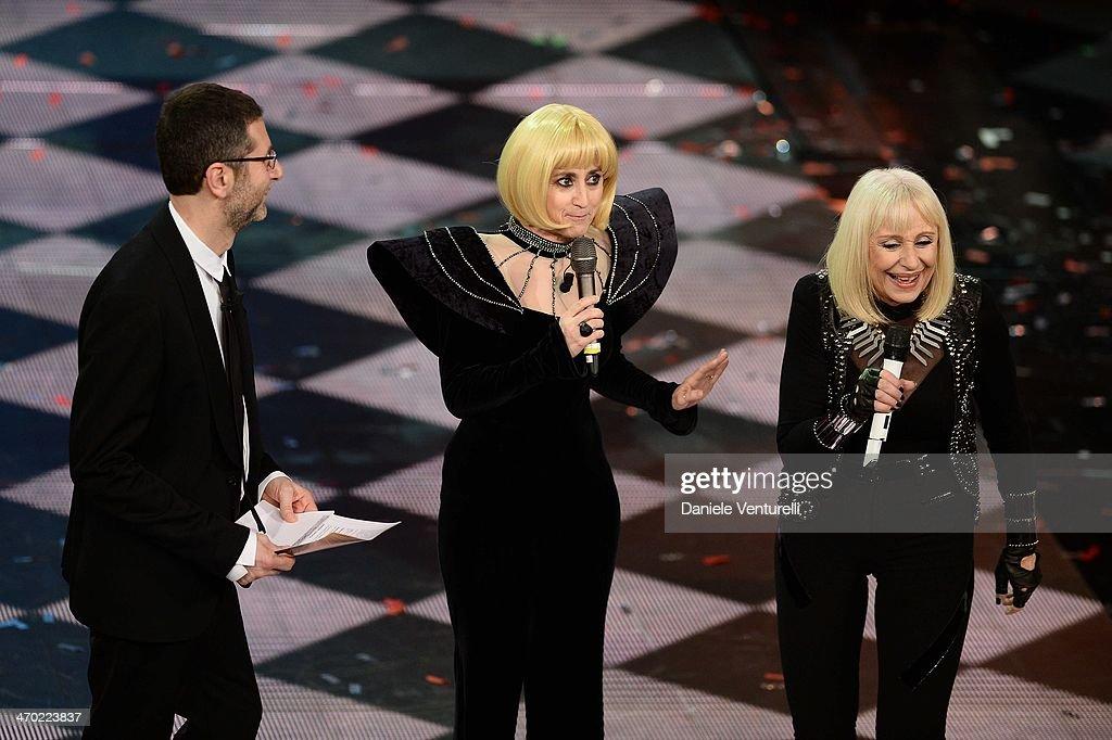 Fabio Fazio, Luciana Littizzetto and Raffaella Carra attend opening night of the 64th Festival di Sanremo 2014 at Teatro Ariston on February 18, 2014 in Sanremo, Italy.