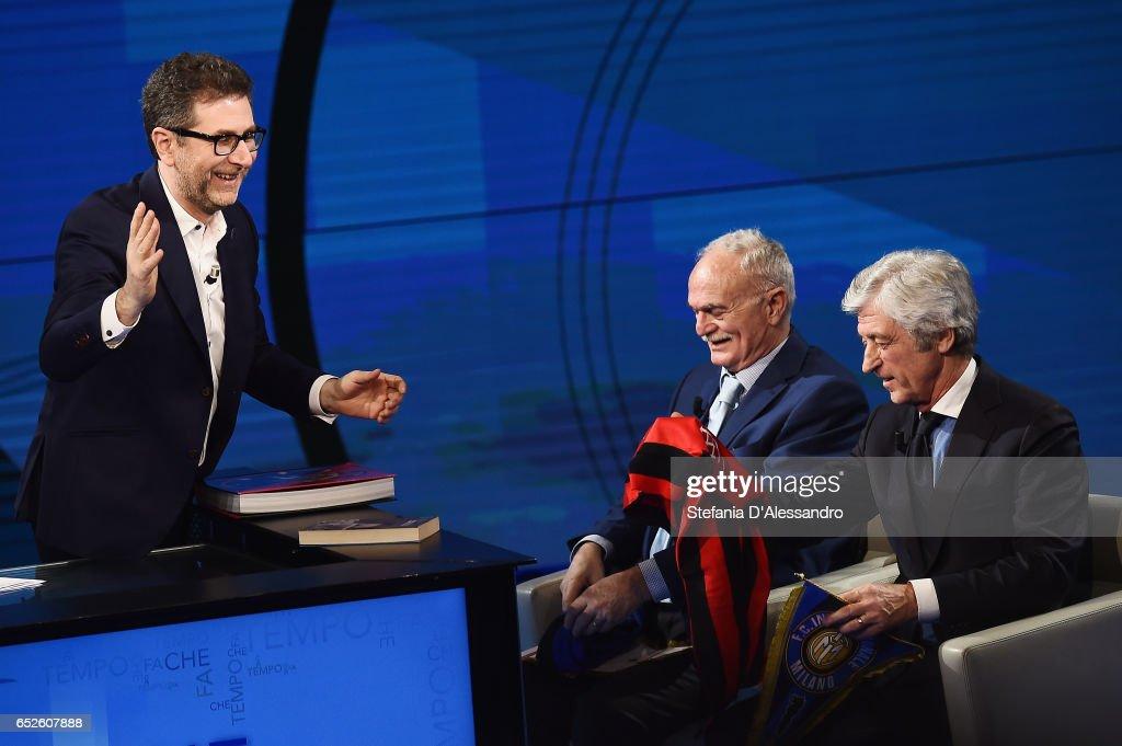 Fabio Fazio, Sandro Mazzola and Gianni Rivera attend 'Che Tempo Che Fa' tv show on March 12, 2017 in Milan, Italy.
