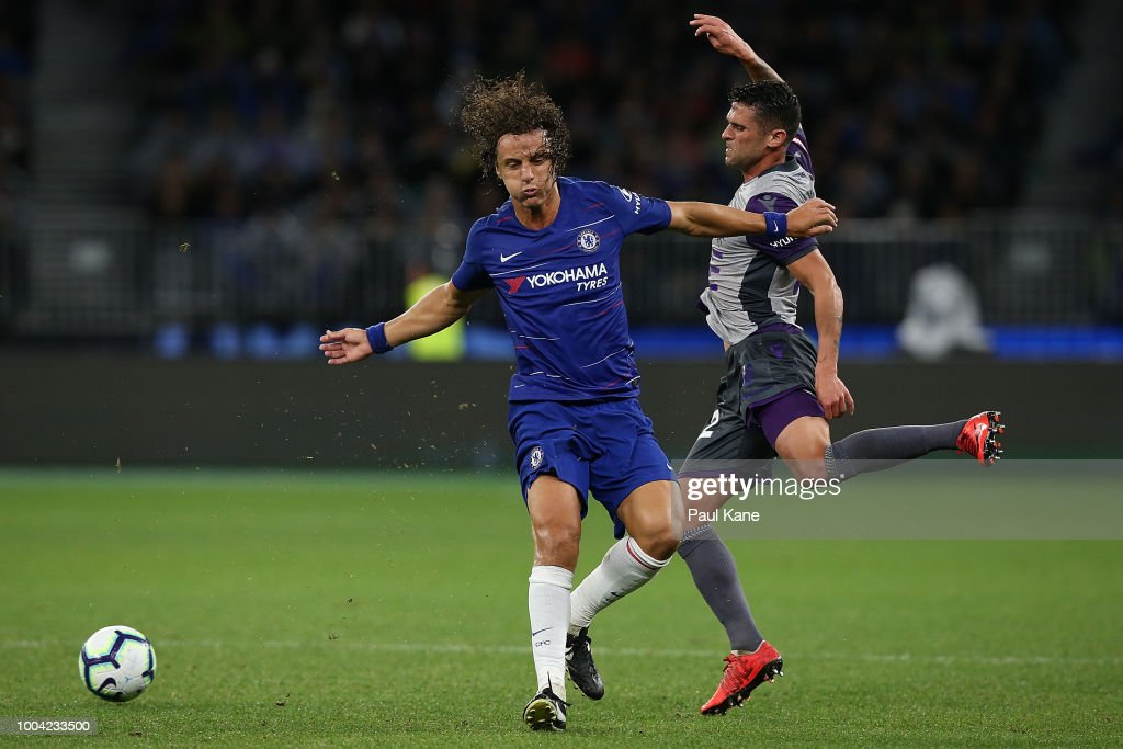 Fabio Ferreira of the Glory is challenged by David Luiz of Chelsea during the international friendly between Chelsea FC and Perth Glory at Optus Stadium on July 23, 2018 in Perth, Australia.