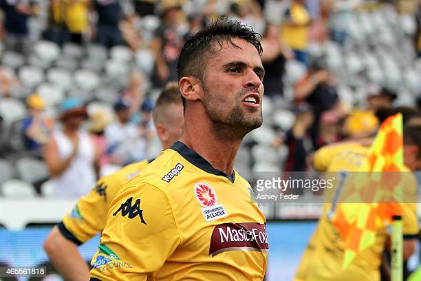 Fabio Ferreira of the Mariners celebrates a goal during the round 20 ALeague match between the Central Coast Mariners and Melbourne City FC at...