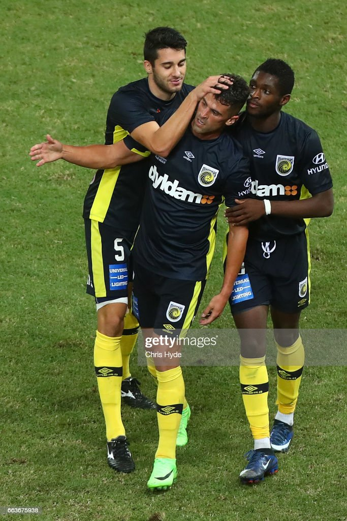 Fabio Ferreira of the Mariners celebrates a goal with team mates during the round 25 A-League match between the Brisbane Roar and the Central Coast Mariners at Suncorp Stadium on April 2, 2017 in Brisbane, Australia.