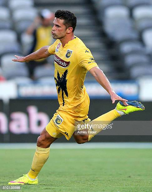 Fabio Ferreira of the Mariners celebrates his goal with team mates during the round 19 ALeague match between the Central Coast Mariners and Adelaide...