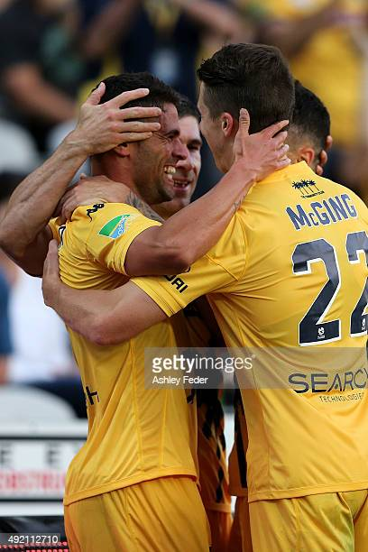 Fabio Ferreira of the Mariners celebrates his second goal during the round one A-League match between the Central Coast Mariners and the Perth Glory...