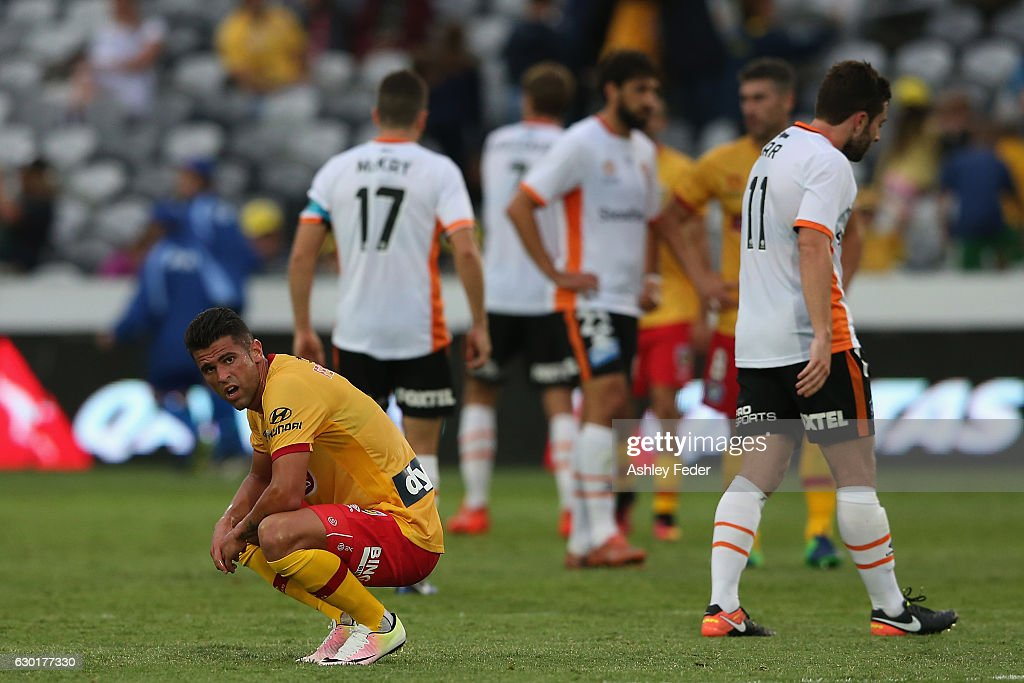 Fabio Ferreira of the Mariners looks dejected during the round 11 A-League match between the Central Coast Mariners and Brisbane Roar at Central Coast Stadium on December 18, 2016 in Gosford, Australia.