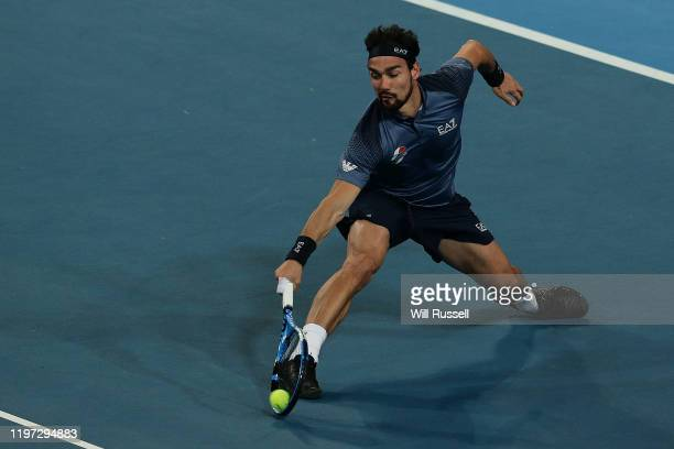 Fabio Fogini of Italy plays a backhand to Daniil Medvedev of Russia during day one of the 2020 ATP Cup Group Stage at RAC Arena on January 03 2020 in...