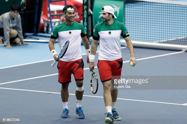 Fabio Fognini and Simone Bolelli of Italy in action in their doubles match against Ben McLachlan and Yasutaka Uchiyama of Japan during day two of the...