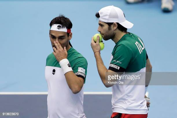 Fabio Fognini and Simone Bolelli of Italy play in their doubles match against Ben McLachlan and Yasutaka Uchiyama of Japan during day two of the...