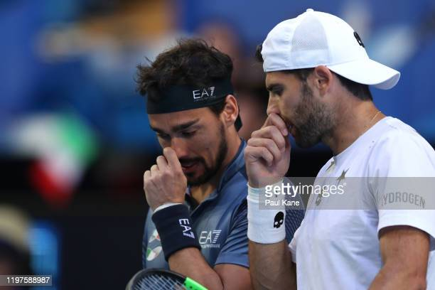 Fabio Fognini and Simone Bolelli of Team Italy talk in their doubles match against Casper Ruud and Viktor Durasovic of Team Norway during day three...