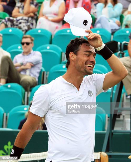 Fabio Fognini during his match against Albert RamosVinolas day three of The Boodles Tennis Event at Stoke Park on June 28 2018 in Stoke Poges England