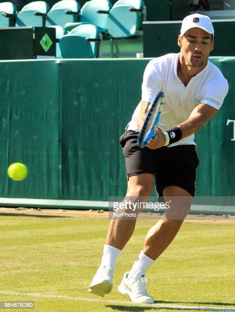 Fabio Fognini during his match against Kevin Anderson day one of The Boodles Tennis Event at Stoke Park on June 26 2017 in Stoke Poges England