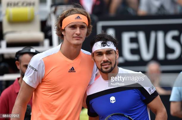 Fabio Fognini in action during his match against Alexander Zverev Internazionali BNL d'Italia 2017 on May 16 2017 in Rome Italy