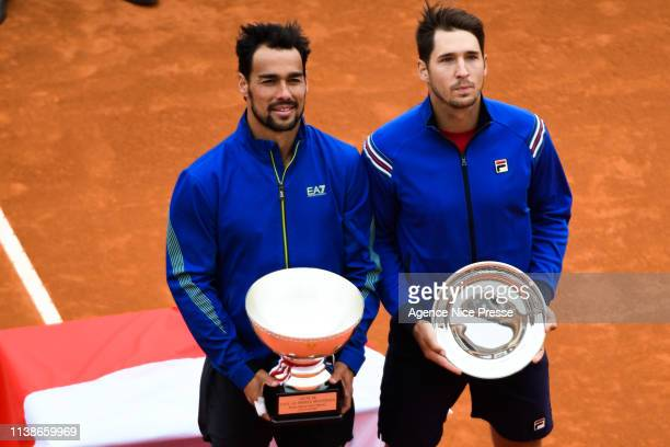 Fabio Fognini of Italy and Dusan Lajovic of Serbia during the 2019 Monte Carlo Rolex Masters 1000 day one on April 21 2019 in Monaco Monaco
