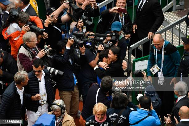 Fabio Fognini of Italy and his wife during the 2019 Monte Carlo Rolex Masters 1000 day one on April 21 2019 in Monaco Monaco