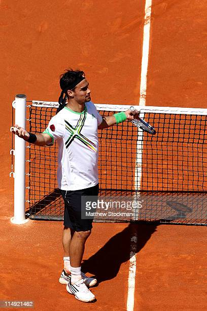 Fabio Fognini of Italy appeals to the crowd as he is booed after winning the men's singles round four match between Fabio Fognini of Italy and Albert...