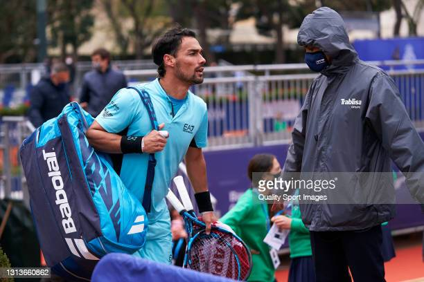 Fabio Fognini of Italy argues with the judge during his Men's Singles round of 32 match against Bernabe Zapata of Spain on day three of the Barcelona...