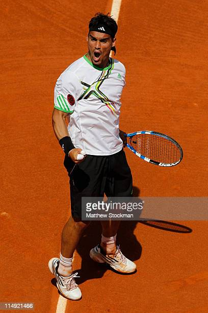 Fabio Fognini of Italy celebrates a break point during the men's singles round four match between Fabio Fognini of Italy and Albert Montanes of Spain...