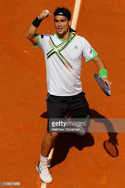 Fabio Fognini of Italy celebrates a break point during the men's singles round four match between Fabio Fognini of Italy and Albert Montanes of Spain...