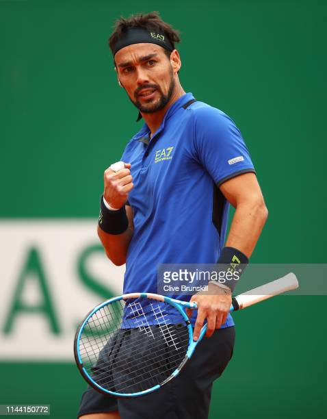 Fabio Fognini of Italy celebrates a point against Dusan Lajovic of Serbia in the men's singles final during day eight of the Rolex Monte-Carlo...
