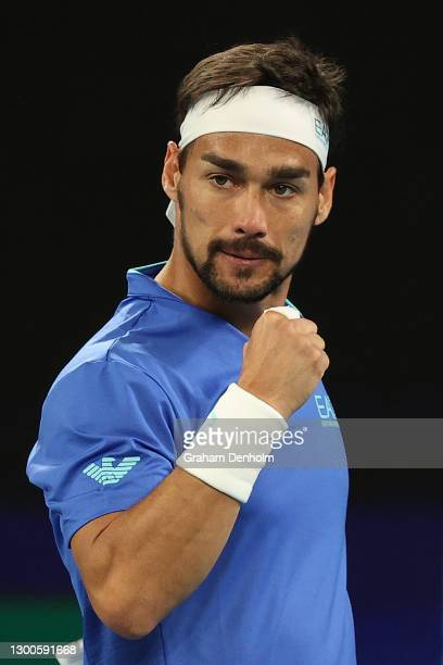 Fabio Fognini of Italy celebrates a point against Pablo Carreno Busta of Spain during day five of the 2021 ATP Cup at John Cain Arena on February 06,...