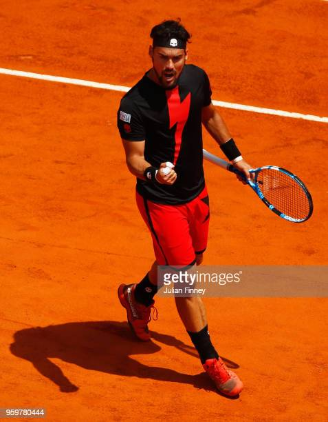 Fabio Fognini of Italy celebrates a point during his Quarter Final match against Rafael Nadal of Spain during day six of The Internazionali BNL...