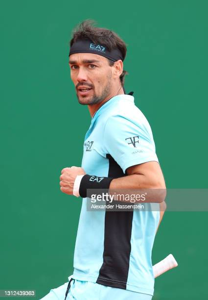 Fabio Fognini of Italy celebrates a point during their Round 32 match against Jordan Thompson of Australia during day four of the Rolex Monte-Carlo...