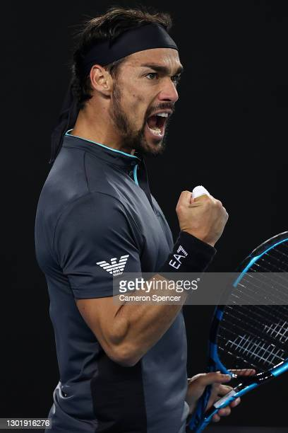 Fabio Fognini of Italy celebrates after winning the first set in his Men's Singles third round match against Alex De Minaur of Australia during day...