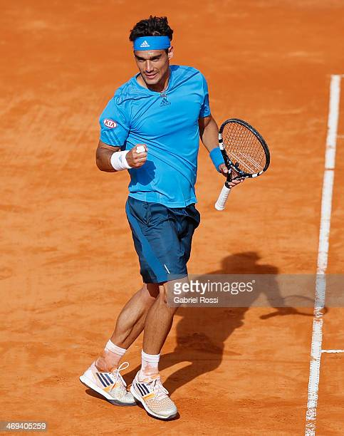 Fabio Fognini of Italy celebrates after winning the match between Fabio Fognini and Pablo Andujar as part of ATP Buenos Aires Copa Claro on February...