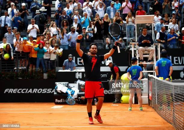 Fabio Fognini of Italy celebrates defeating Dominic Thiem of Austria during day four of the Internazionali BNL d'Italia 2018 tennis at Foro Italico...