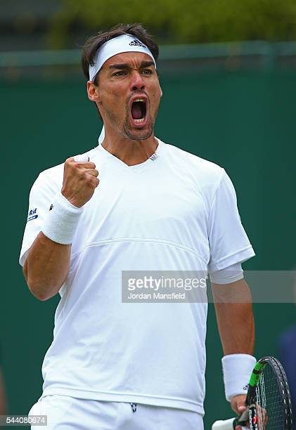 Fabio Fognini of Italy celebrates during the Men's Singles second round match against Feliciano Lopez of Spain on day five of the Wimbledon Lawn...